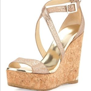 Jimmy Choo Portia Metallic Crisscross Wedge Sandal